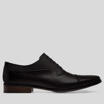 Zapato De Vestir De Piel En Contraste Grabado Negro